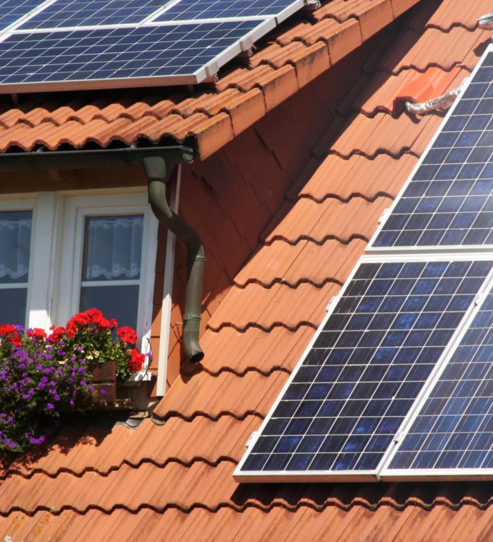 house's roof with solar panels